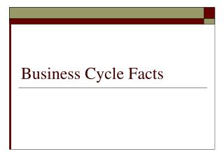 Business Cycle Facts