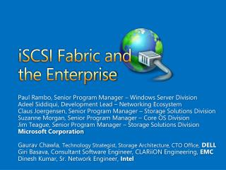 iSCSI Fabric and the Enterprise