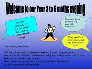 This evening we will be… showing how maths strategies develop across the year groups