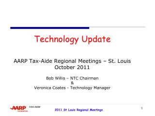 Technology Update   AARP Tax-Aide Regional Meetings   St. Louis October 2011  Bob Willis   NTC Chairman  Veronica Coates