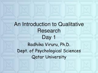 An Introduction to Qualitative Research Day 1
