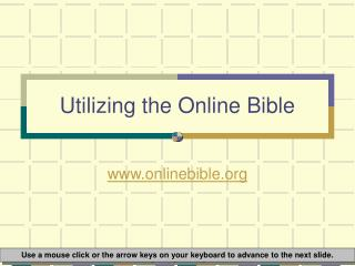 Utilizing the Online Bible