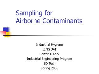 Sampling for Airborne Contaminants