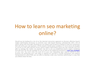 Learn SEO Strategies