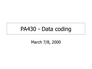 PA430 - Data coding