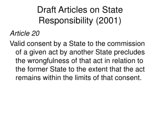 Draft Articles on State Responsibility (2001)