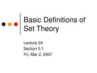 Basic Definitions of Set Theory