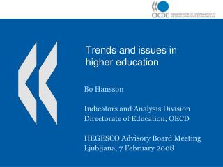 Trends and issues in higher education