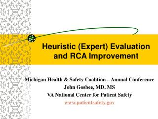 Heuristic (Expert) Evaluation and RCA Improvement