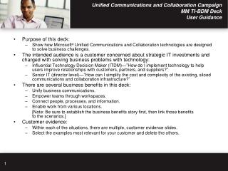 Unified Communications and Collaboration Campaign MM TI-BDM Deck  User Guidance