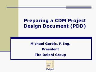 Preparing a CDM Project Design Document (PDD)