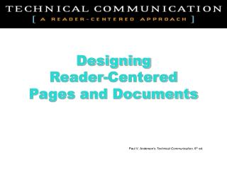 Designing Reader-Centered Pages and Documents