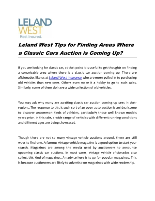 Leland West Tips for Finding Areas Where a Classic Cars Auction is Coming Up?