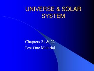 UNIVERSE & SOLAR SYSTEM