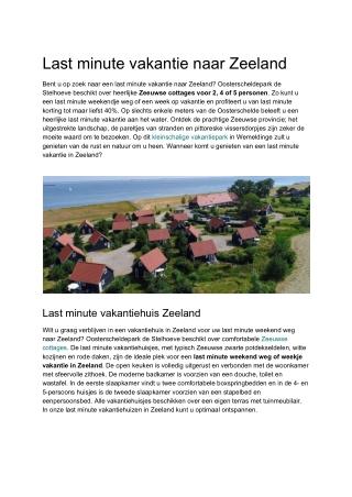 Last minute naar Zeeland