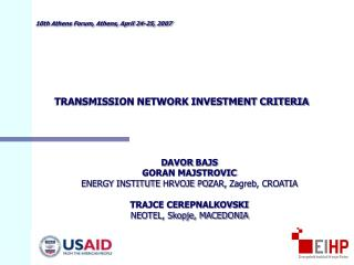 TRANSMISSION NETWORK INVESTMENT CRITERIA