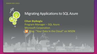 Migrating Applications to SQL Azure