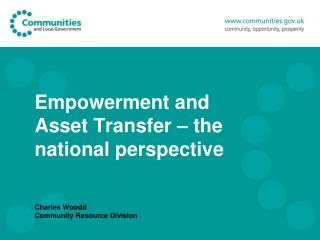 Empowerment and Asset Transfer   the national perspective