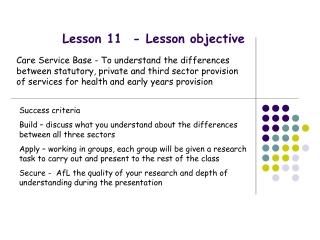 Lesson 11 - Lesson objective