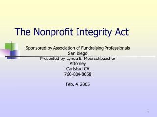 The Nonprofit Integrity Act