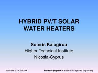 HYBRID PV/T SOLAR WATER HEATERS
