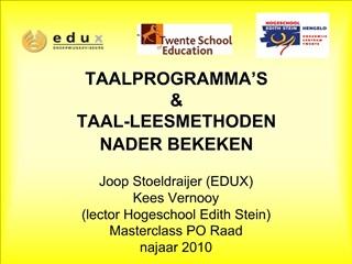 TAALPROGRAMMA S   TAAL-LEESMETHODEN  NADER BEKEKEN