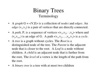 Binary Trees Terminology