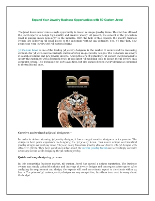 Expand Your Jewelry Business Opportunities with 3D Custom Jewel