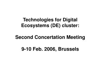 Technologies for Digital  Ecosystems (DE) cluster: Second Concertation Meeting 9-10 Feb. 2006, Brussels