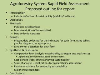 Agroforestry System Rapid Field Assessment  Proposed outline for report