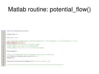 Matlab routine: potential_flow()