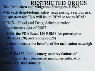 RESTRICTED DRUGS
