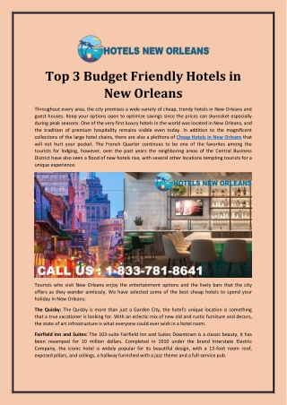 Top 3 Budget-Friendly Hotels in New Orleans
