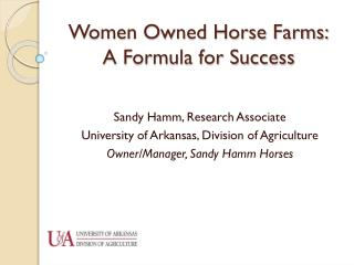 Women Owned Horse Farms: A Formula for Success