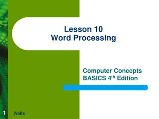 Lesson 10 Word Processing