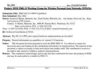 Project: IEEE P802.15 Working Group for Wireless Personal Area Networks (WPANs) Submission Title: IEEE 802.15.4 PHY Ca