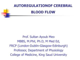 AUTOREGULATIONOF CEREBRAL BLOOD FLOW