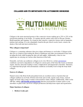 Collagen and Its Importance for Autoimmune Disorders