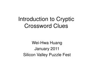 Introduction to Cryptic Crossword Clues