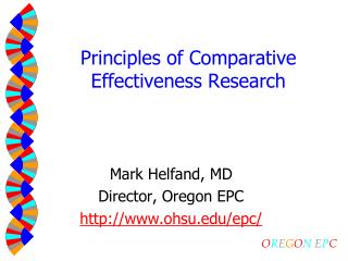 Principles of Comparative Effectiveness Research