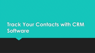 Track Your Contacts with CRM Software