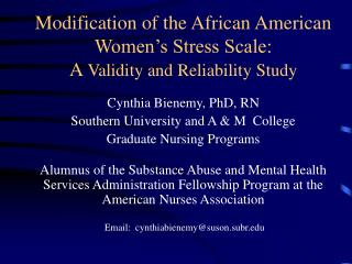 Modification of the African American Women's Stress Scale: A  Validity and Reliability Study