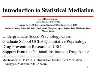 Introduction to Statistical Mediation