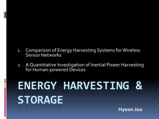 ENERGY HARVESTING & storage