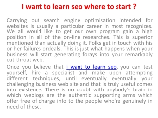 I want To Learn SEO