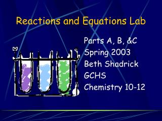Reactions and Equations Lab