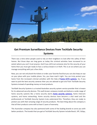 Get Premium Surveillance Devices from TechSafe Security Systems