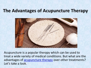 Advantages of Acupuncture Therapy