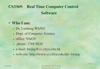 CS3369: Real Time Computer Control                                  Software