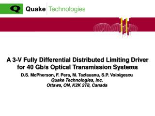 A 3-V Fully Differential Distributed Limiting Driver for 40 Gb/s Optical Transmission Systems